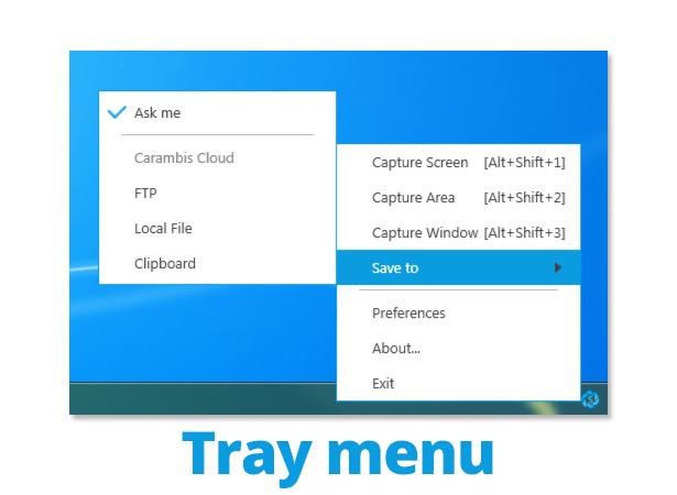 Tray menu